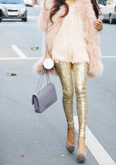 Pink Fur, Gold Sequins <3 .. give me different heels and a gorge purse and its the dream
