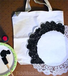 Learn how to stencil a personalized monogram canvas bag with a doily at TidyMom.net