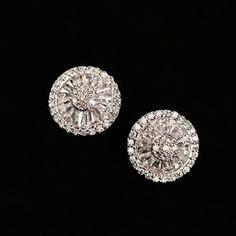 Silver Round Earrings Zircon Exquisite Female