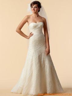 2012 Preiswertes uniques Brautkleid aus Organza Bodenlang A-Linie