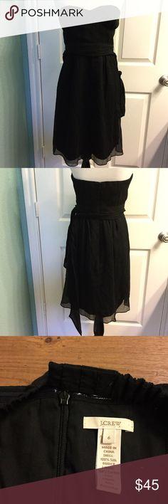 J. Crew black silk strapless dress size 6 100% silk. Lined. Strapless. Gently used. Sash around waist. (A) J. Crew Dresses Strapless