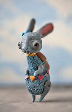 bird house rabbit by da-bu-di-bu-da on DeviantArt Toy Art, Cute Creatures, Fantasy Creatures, Blue Bunny, Rabbit Toys, Bunny Rabbit, Kawaii, Paperclay, Cute Toys
