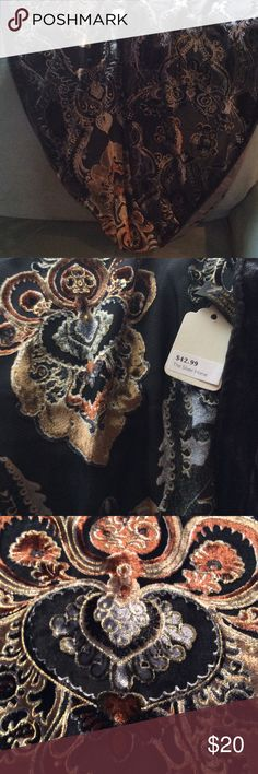 """GORGEOUS Scarf! NWT Intricate velvet designs of silver, black, and gold on a lightweight sheer black fabric. This is NEW with tags and would make your little black dress look like a million dollars! Dimensions are 5 ft. 2inches long and 14"""" across. Accessories Scarves & Wraps"""