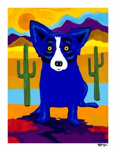 Silkscreen by George Rodrigue Designed 2018 Numbered Edition of including the Rodrigue Estate Stamp inches Animal Paintings, Animal Drawings, Art Drawings, Blue Dog Art, Blue Art, Blue Dog Painting, Watercolor Animals, Baby Dogs, Animal Party