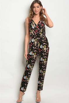 e7630eb63c9 Abigail - Black Floral Sleeveless Jumpsuit