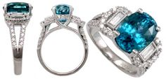 White Gold carat Blue Zircon Ring with Baguette and Round Diamonds Ice Ring, Diamond Alternatives, Blue Zircon, Baguette, Round Diamonds, Birthstones, Jewelry Box, Blues, White Gold