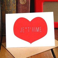 Je T'aime - heart Valentines day card