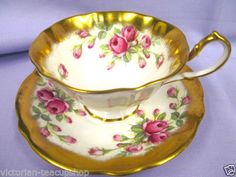 QUEEN ANNE TEA CUP AND SAUCER WIDE MOUTH GOLD ROSE PATTERN TEACUP in Antiques, Decorative Arts, Ceramics & Porcelain | eBay