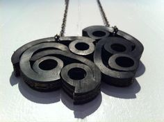 Hildur r Jnsdottir - necklace made from old rubber rings used in fishing nets #fishfinders