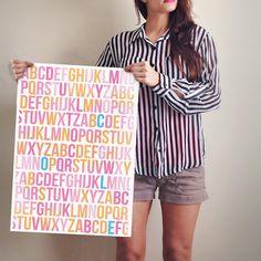PRINT, Customizable ABC kid name art, colorful on Etsy, $24.99