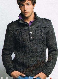 di prim'ordine 76d09 3d0da modello molto bello ai ferri con trecce per uomo | Knitting ...