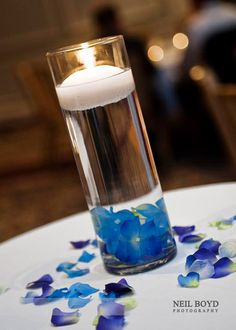 Floating candle table centerpiece