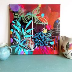 Colourful abstract art from artist Helen Wells. Acrylic on canvas.