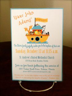 Noah's Ark Baptism Invitation by Olive Parties