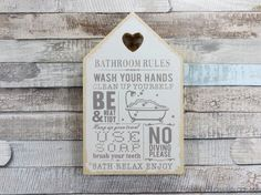 Bathroom rules, wash your hands, clean up yourself, be neat & tidy. Wooden wall hanging plaque. Can be wall hung using supplied mount or can be freestanding. Kitchen range. Novelty gifts. Money boxes. | eBay!