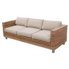 Teak wood slat sofa with taupe burlap cushions.    Product: SofaConstruction Material: Teak wood and burlapColor: Natural and taupeFeatures: Cushions includedDimensions: 24.5 H x 81.5 W x 32 D