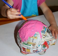 Paper mache piggy bank - to replace the elephant bank that broke?