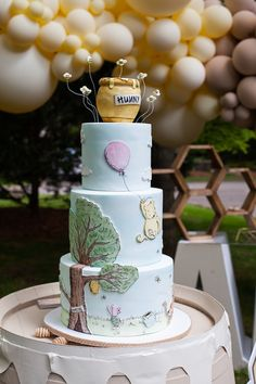 Themed Birthday Cakes, First Birthday Cakes, Girl First Birthday, Baby Birthday, First Birthday Parties, First Birthdays, Birthday Favors, Birthday Ideas, Winnie The Pooh Themes