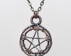 Pentacle necklace wire wrapped oxidized copper Pentagram pendant