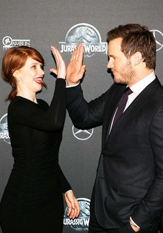 Chris Pratt and Bryce Dallas Howard   attend the 'Jurassic World' Avant-Premiere at Cinema UGC Normandie on May 29, 2015 in Paris, France.