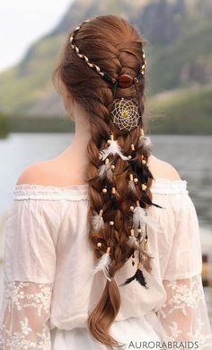 french braid with dreamcatcher headband <3