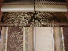Klasszikus bútorszövet kollekció. Kivitel: lángálló, kopásállóság MD 30 000. Választható minták: apró mintás, pikkely mintás, barokk mintás, csíkos. Szín: barna–arany