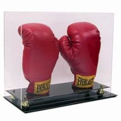 DOUBLE VERTICAL BOXING GLOVE UV PROTECTION ACRYLIC DISPLAY CASE with GOLD RISERS