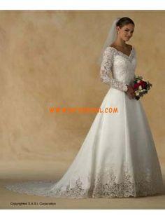 fallconservativeVnecklongsleevedweddingdresseslacep...