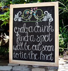 Rustic Distressed Chalkboard Sign Wedding Ceremony