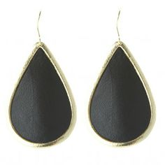 Marcia Moran Black Leather Teardrop Earrings | Rain Collection