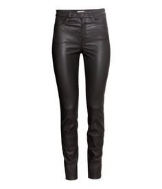 Black. PREMIUM QUALITY. Leather pants with a regular waist, front pockets, and…