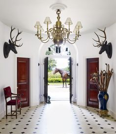The traditional entrance hall of Ralph Lauren's Bedford, New York, estate.