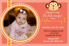 Girl Monkey Birthday Party Ideas - invitations!