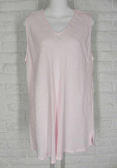 8fe23a75947 MATCH POINT Tank Top Bias Cut V Neck Hanky Linen Pink NWT Large  MatchPoint