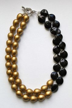 NEW FOR FALL - The Gramercy necklace. Glam gold and black statement necklace.. $85.00, via Etsy.