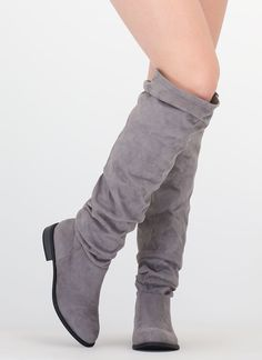 Slouch On Faux Suede Knee-High Boots GREY