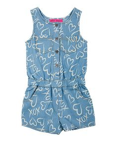 Look what I found on #zulily! Denim 'XOXO' Heart Romper - Girls #zulilyfinds