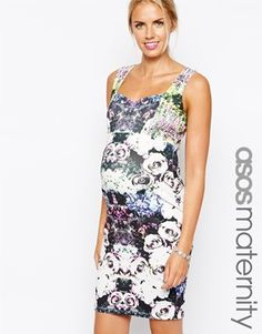 2f52be794b367 ASOS Maternity Bodycon Dress With Sweetheart Neck In Garden Floral Print at  asos.com