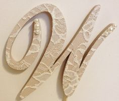 Vintage Lace Monogram Cake Topper with Pearls