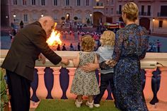 More photos of Princess Gabriella and Prince Jacques with their mother Princess Charlene on the night of Saint-Jean Festival