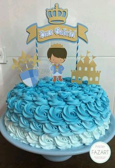 Topo de bolo Realeza   Atelier Fazart   Elo7 Torta Baby Shower, Baby Boy Shower, Die Dinos Baby, Cake Decorating For Beginners, Prince Party, Baby Shawer, Cakes For Boys, Christening, Cake Toppers