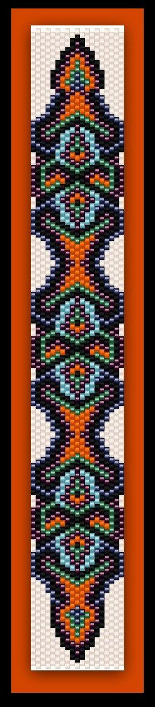 BP-AB-065 - Metallic Under Leaf - Odd Count Peyote Stitch Bracelet Pattern - In The Raw One of A Kind Design