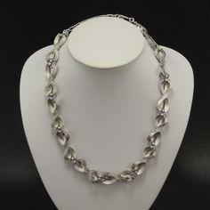 Crown Trifari Silvertone Ribbon Bow Necklace Vtg.