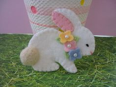 Felt Bunny Brooch Spring Beaded Pink Yellow Blue Flowers Wool Rabbit. $14.50, via Etsy.