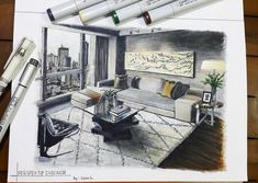 Living Room. Drawings of Architecture and Interior Design. By Glenn Geraldi.