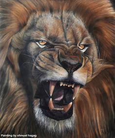 Lion Roar Oil Painting By Shmuel Hagag by ShmuelHagag.deviantart.com on @DeviantArt