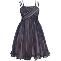 A cute and stylish dress for your girl by Bonnie Jean! Delicate grey dress with triple straps, criss cross ruched sequined bodice, a glittery tulle skirt with wire hem. It makes a beautiful dress that is sure to spread joy this Christmas holiday season!