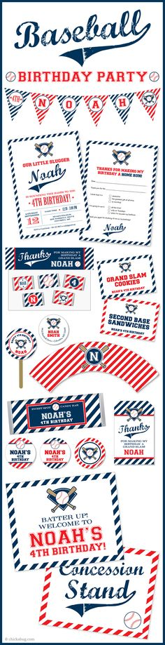 Baseball theme party! Invitations, water labels, stickers, DIY party printables and lots more from Chickabug.com
