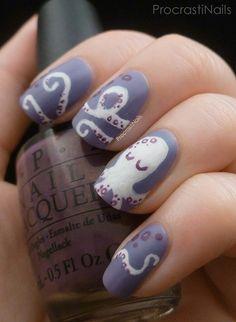 Octopus nails. Sea creature nail art with OPI nail polish