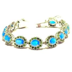 Exclusive-925 Sterling Silver Natural Blue Topaz & Tsavorite Special Bracelet  #SimSimSilver #Tennis
